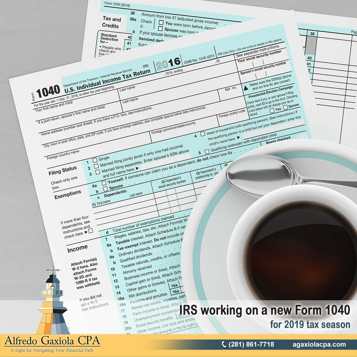 Alfredo Gaxiola Cpa Irs Working On A New Form 1040 For 2019 Tax
